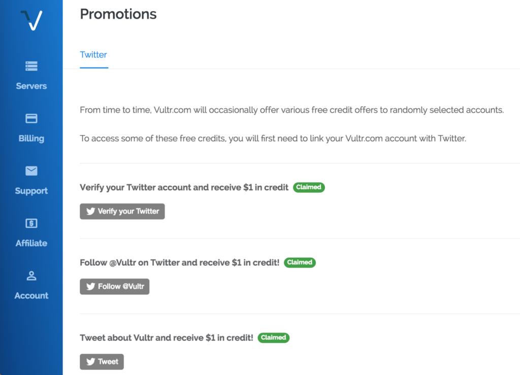 Vultr Twitter Promotion