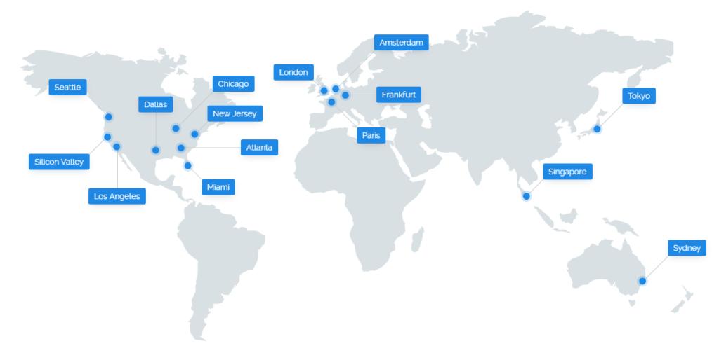 Các cụm server của vultr trên toàn thế giới
